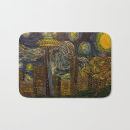 Dedication to Van Gogh: Seattle Starry Night Bath Mat