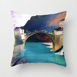 Mostar Old Town Panorama, Stari Most Bridge, Bosnia and Herzegovina by Tivadar Csontváry Kosztka Throw Pillow