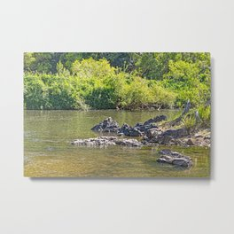 Beautiful rocks in the tranquil river Metal Print