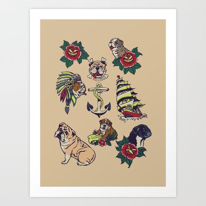 English Bulldog Tattoo Art Print