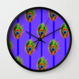 Decorative Contemporary  Peacock Feathers Art Wall Clock