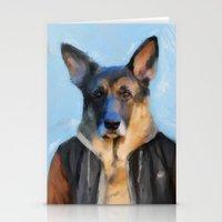 german shepherd Stationery Cards featuring Chic German Shepherd by Jai Johnson