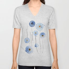blue abstract dandelion 2 Unisex V-Neck