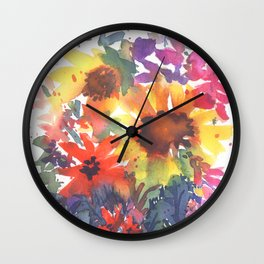 Rainy Day Sunflowers Wall Clock