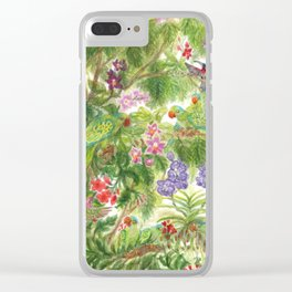 Birds and Orchids Tropical Rainforest II Clear iPhone Case