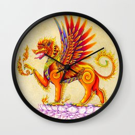 Singha Winged Lion Temple Guardian Wall Clock