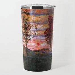 Quatre arbres (Group of Four Trees), Autumn Sunset by Egon Schiele Travel Mug