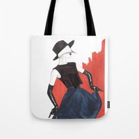 fringe Tote Bags featuring Fringe by Sweet Bliss Art