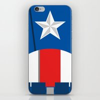 avenger iPhone & iPod Skins featuring Cap. America Avenger  - Minimalist by Sterling Arts & Design