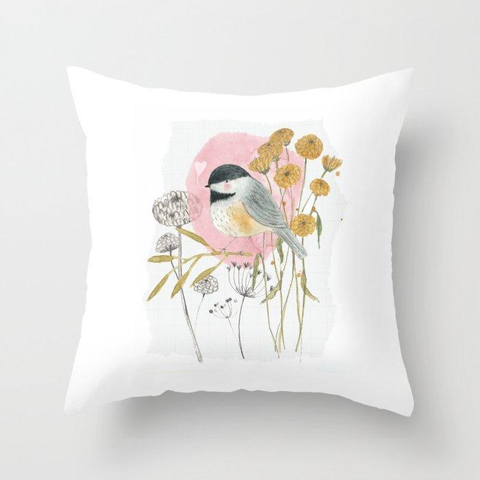 Chickadee and flowers Throw Pillow