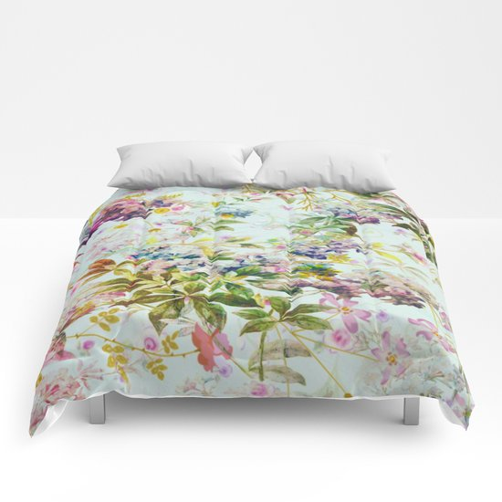 sweet floral in light blue Comforters