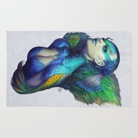 peacock Area & Throw Rugs featuring Peacock Queen by Artgerm™