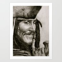 jack sparrow Art Prints featuring Jack Sparrow by Kelly N. Gin