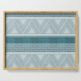 Dutch Wax Tribal Print in Teal Serving Tray