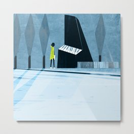Inside the silver string piano Metal Print