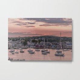 Rockport Harbor Autumn Sunset Metal Print