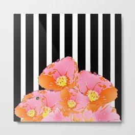 Poppy Stripes - Pink Metal Print