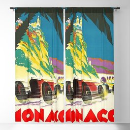Vintage 1932 Monaco Grand Prix Racing Advertising Poster Blackout Curtain