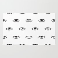 david bowie Area & Throw Rugs featuring Eyes - David Bowie by Mariootsa