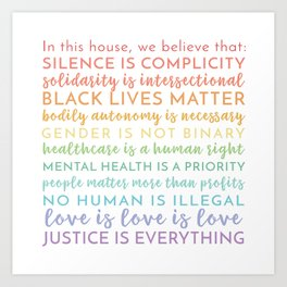 In this house we believe / Square Physical Print / Black Lives Matter / BLM / LGBTQIA Advocacy / Silence is Complicity Rainbow / Yard Sign Art Print