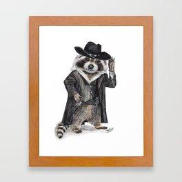 """ Raccoon Bandit "" funny western raccoon Framed Art Print"