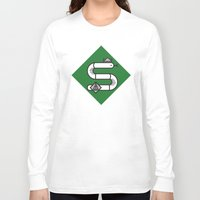 slytherin Long Sleeve T-shirts featuring Slytherin House Crest by Manuja Waldia