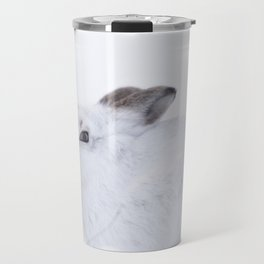white mountain hare (lepus timidus) sitting on snow Travel Mug