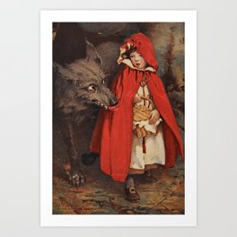 Little Red Riding Hood and the Big Bad Wolf portrait painting by Jesse Wilcox Smith Art Print