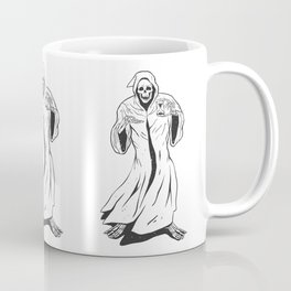 Grim reaper holding an hourglass -  black and white Coffee Mug