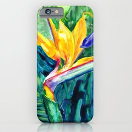 Bird of Paradise Watercolor iPhone Case