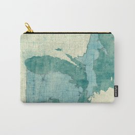 Michigan State Map Blue Vintage Carry-All Pouch