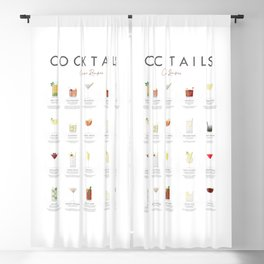 Cocktail Chart - Classic Cocktails Blackout Curtain