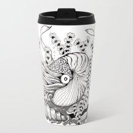 Zentangle Nautilus in the Ocean Illustration Travel Mug
