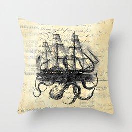 Kraken Octopus Attacking Ship Multi Collage Background Throw Pillow