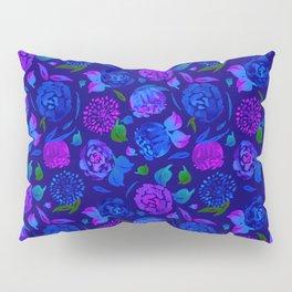 Watercolor Floral Garden in Electric Blue Bonnet Pillow Sham