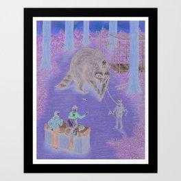 Raccoon Rides! Art Print