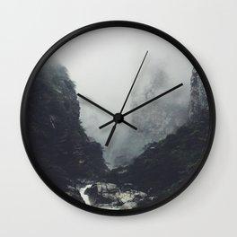 Misty Mountain Cliff Rocky Rapids Foggy Misty Landscape Photography Wall Clock