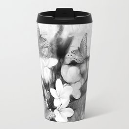 Butterflies and Frangipani in black and white Travel Mug