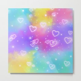Colorful Art Design with Neon Hearts Ver.4 Metal Print