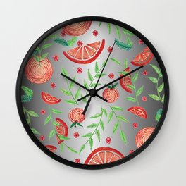 Orange - Silver Wall Clock