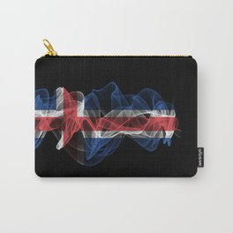 Iceland Smoke Flag on Black Background, Iceland flag Carry-All Pouch