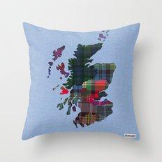Scotland Counties Fabric Map Art Throw Pillow