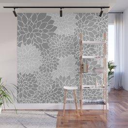 Gray Dahlias / Gray Flowers Wall Mural