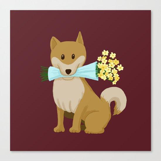 Flower Dog Canvas Print