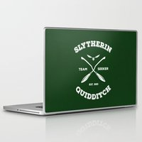 quidditch Laptop & iPad Skins featuring Slytherin Quidditch Team Seeker: Green by Sharayah Mitchell