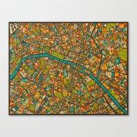 paris map Canvas Prints featuring PARIS Map by Jazzberry Blue