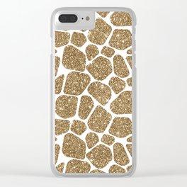 Glitter Giraffe Animal Print Pattern Clear iPhone Case