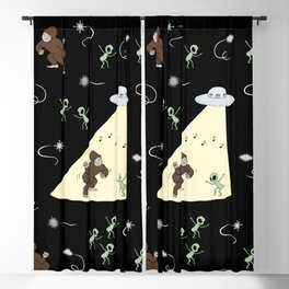 Bigfoot Dancing with Aliens Blackout Curtain