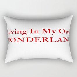 Living In My Own Wonderland in Red Rectangular Pillow