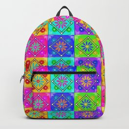 Boho Tapestry Tiles in India Silk Multi Backpack